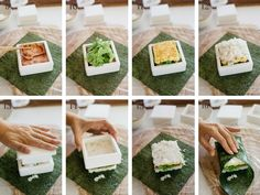8 photos showing the BLT process Wine Recipes, Asian Recipes, Cooking Recipes, Rice Sandwich, Cute Food, Yummy Food, Spam Musubi, Onigirazu, Japanese Recipes