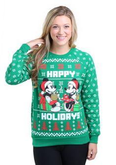 Mickey Mouse Happy Holidays Womens Ugly X-Mas Sweatshirt Mickey Mouse Gifts, Mickey Mouse Christmas, Ugly Sweater, Ugly Christmas Sweater, Holiday Sweaters, Disney Junior, Disney Outfits, Disney Mickey, Happy Holidays