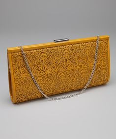 Take a look at this Yellow Lace Cutout Clutch by Lovely Bags on #zulily today! $30
