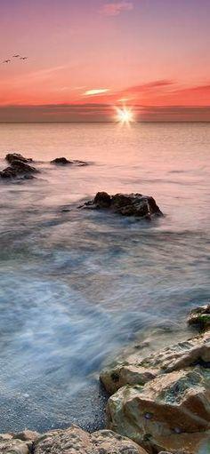Фотообои дверные: Закат на море