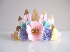 Feather crown   pastel candy/ by kireihandmade
