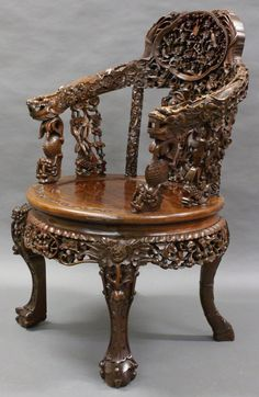 A Superb Century Chinese, Hardwood Arm Chair - Antiques Atlas Antique Chinese Furniture, Oriental Furniture, Victorian Furniture, Funky Furniture, Unique Furniture, Rustic Furniture, Furniture Design, Antique Armchairs, Antique Sideboard