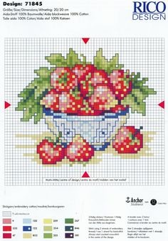 bowl of strawberries cross stitch chart Cross Stitch Fruit, Cross Stitch Kitchen, Just Cross Stitch, Cross Stitch Needles, Cross Stitch Flowers, Counted Cross Stitch Patterns, Cross Stitch Charts, Cross Stitch Designs, Cross Stitch Embroidery