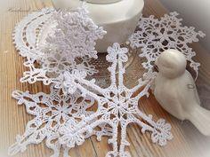 Śnieżynki szydełkowe gwiazdki ozdoby na choinkę - kami1227 - Dekoracje bożonarodzeniowe