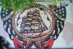 Ed Abillano: Today's Street Art - Square Rigger Ship Street Art, Walking, Ship, Walks, Yachts, Ships, Boat