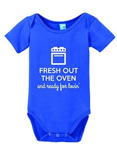 Fresh Out The Oven and Ready for Lovin' Onesie Funny Bodysuit Baby Romper Royal 0-3 Month Sod Uniforms http://www.amazon.com/dp/B014EF92UK/ref=cm_sw_r_pi_dp_7g82vb1VS6Y3S