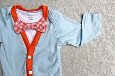 Cardigan and Bow Tie Onesie Set - Solid Blue and Orange - Trendy Baby Boy. $40.00, via Etsy.
