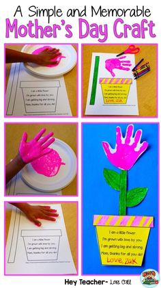 Mother's Day HandPrint Flower Craft: A simple but memorable Mother's Day Gift that Moms LOVE! It also makes a great end of year activity or Spring bulletin board. Click the picture to learn more. Makes a wonderful keepsake. Easy Mother's Day Crafts, Mothers Day Crafts For Kids, Fathers Day Crafts, Mothers Day Cards, Mother Day Gifts, Daycare Crafts, Toddler Crafts, Preschool Crafts, Mother's Day Projects