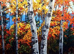Autumn Vibrance birch tree art and aspen paintings by Jennifer Vranes Original art painting by Jenni Top Paintings, Landscape Paintings, Landscapes, Pictures To Paint, Art Pictures, Birch Tree Art, Birch Bark, Watercolor Trees, Painting Trees