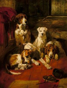 Hounds in a Kennel by John Emms Dog Artist, Dog Artwork, Vintage Dog, Victorian Art, Dog Paintings, Hound Dog, Sports Art, Dog Portraits, Art Auction