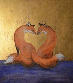 Love foxes, Inari foxes with wishing stone tails for Valentine's Day