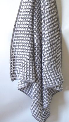 Crochet blanket grey and white granny square  crochet by BabanCat