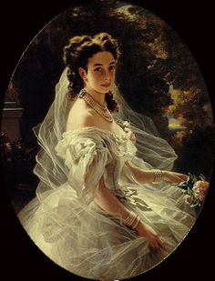 Portrait of Princess Pauline von Metternich, by Franz Xaver Winterhalter . Granddaughter and daughter-in-law of the famous statesman Prin. Franz Xaver Winterhalter, Old Paintings, Beautiful Paintings, Female Portrait, Portrait Art, Victorian Art, High Society, Edwardian Fashion, Edwardian Dress