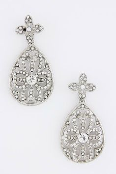 Vines of Jewels - Silver-tone Floral Teardrop Crystal Earrings, $14.00 (http://www.vinesofjewels.com/silver-tone-floral-teardrop-crystal-earrings/)