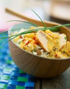 Curry de poulet au lait de coco et riz basmati #recette #poulet #curry #coco #riz #facile