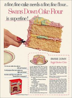 vintage Swans Flour Butter cake recipe/ad. Image from alsis35 Flickr