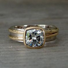 Vintage engagement rings - Forever Brilliant™ moissanite, recycled yellow gold, and recycled palladium white gold ring – Vintage engagement rings Elegant Engagement Rings, Alternative Engagement Rings, Diamond Engagement Rings, Alternative Bride, Diamond Rings, Solitaire Rings, Solitaire Diamond, Engagement Ideas, Band Rings