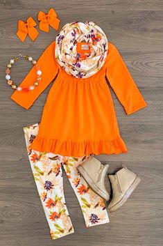 Orange Floral Tunic Scarf Set Cute Outfits For Kids, Toddler Outfits, Cute Girls, Girl Outfits, Floral Tunic, Floral Leggings, Toddler Fashion, Kids Fashion, Polka Dot Scarf