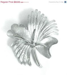 On Sale Vintage Flower Leaf Brooch Silver Tone by TheFashionDen
