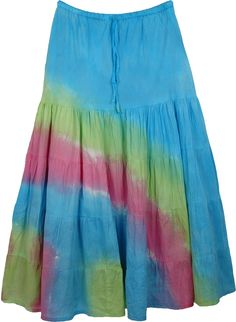 Colorful Cotton Skirt with Tie Dye in tiers - Tie Dye beautiful colors into a simple, classy stitch tiered skirt and you get this unique skirt that surely turns eyes as you sway. This colorful skirt has highlights in ping and green. What makes it a special stitch is reverse patches sewn together to make its body. A very outdoors skirt. Pair this skirt with a solid top in white - or let your imagination far to get some bright prints. Try with patent heels for a fun summer day on the beach… Patent Heels, Skirts For Sale, Tiered Skirts, Summer Skirts, Cotton Skirt, One Size Fits All, Tie Dye Skirt, Imagination, Highlights