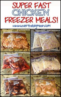 Super Fast Chicken Freezer Meals - Did not care for the Teriyaki Chicken or French Chicken, the Creamy Chicken Italian-O, Sweet BBQ Chicken, Cafe Rio Chicken, Garlic Lime Chicken and Worlds Best Chicken (Honey Dijon) were all really good. Chicken Freezer Meals, Make Ahead Freezer Meals, Freezer Cooking, Crock Pot Cooking, Quick Meals, Freezer Recipes, Chicken Recipes, Bulk Cooking, Freezable Meals