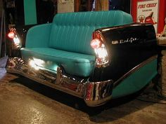 Car couch featuring working headlights! Very Cool!