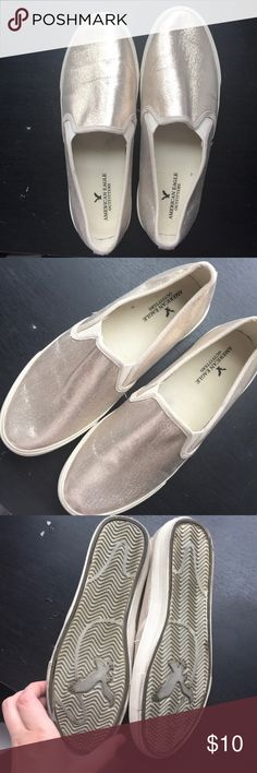 Metallic slip on shoes Worn 2-3x at most. American Eagle Outfitters Shoes