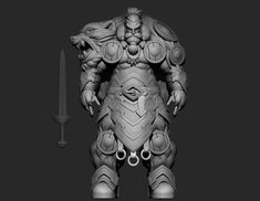 Viking sculpt WIP after concept art, Daniel Gyorgy Papai on ArtStation at https://www.artstation.com/artwork/aLyrk