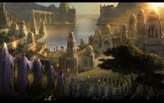 lord of the rings - Full HD Wallpaper, Photo Fantasy City, Fantasy Rpg, Medieval Fantasy, Fantasy World, Fantasy Places, Medieval Art, Fantasy Artwork, Elven City, Into The West