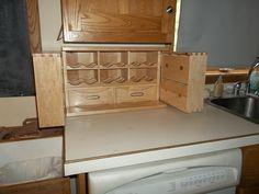 Small Countertop Tea Storage Cabinet (made when ordered) - Innenarchitektur Book Storage Small Space, Small Storage Cabinet, Tea Storage, Small Bathroom Storage, Closet Storage, Storage Cabinets, Storage Drawers, Smart Storage, Kitchen Storage