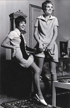 bananametallurgica:  Grace Coddington in Mary Quant's minidress and shorts set with the designer in 1966, photographed by Eric Swayne