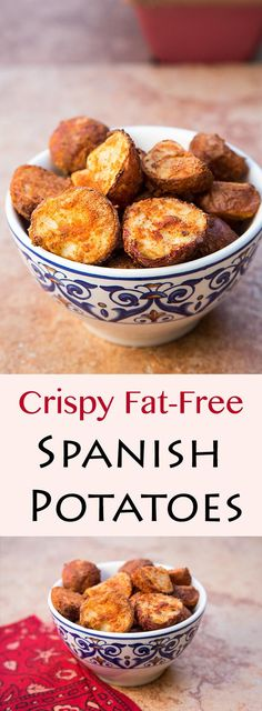 Crispy Fat-Free Spanish Potatoes Vegan and oil-free, these fat-free Spanish Potatoes are pre-cooked and then air fried, making them crunchy and spicy on the outside, creamy on the inside. Fat Free Recipes, Low Fat Vegan Recipes, Low Fat Air Fryer Recipes, Easy Vegan Food, Air Fryer Recipes Vegan, Air Fry Recipes, Healthy Recipes, Raw Food, Spanish Potatoes