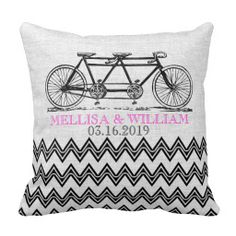 Shop Retro Tandem Bicycle Zigzag Chevron Wedding Gift Throw Pillow created by riverme. Retro Wedding Gifts, Retro Wedding Invitations, Vintage Wedding Theme, Rustic Wedding, Decor Wedding, Wedding Bride, Wedding Decorations, Custom Pillows, Decorative Pillows