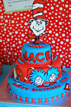 Dr. Seuss Birthday Cake~ I'll have to remember this one!