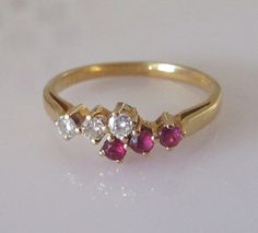 18ct Gold Ruby and Diamond Six Stone Ring by Britishgoldandsilver