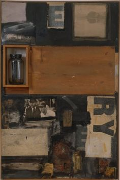 Not so drawn in by somber colors, but attracted to the mix and variety, both and - Talisman, 1958 Robert Rauschenberg Franz Kline, Robert Rauschenberg, Jasper Johns, Willem De Kooning, Richard Diebenkorn, Joan Mitchell, Jackson Pollock, Mark Rothko, Collages