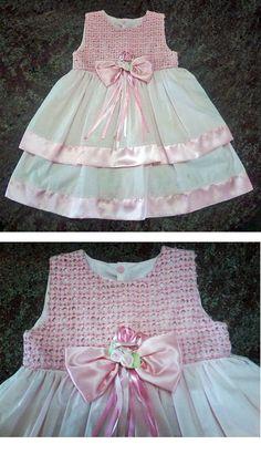 Vestido de aniversário de 2 anos  Pala em etamine desfiada e bordada e saia em  cambraia. (2 years birthday dress)