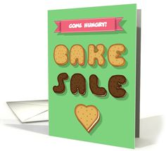 Invitation to a Bake Sale. Cookies font and Heart. Custom... (1477572)