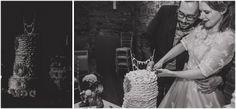 Homemade ruffled wedding cake