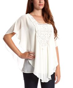 Loving this Ivory Crochet Cape-Sleeve Top on #zulily! #zulilyfinds
