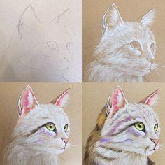고양이 색연필 드로잉 연스ㅂ