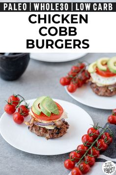 Fire up the grill for these low carb chicken cobb burgers! Simple chicken burger patty topped with everything you'd get on a Cobb salad. Paleo, keto, and low carb. Paleo Chicken Recipes, Lunch Recipes, Paleo Recipes, Low Carb Recipes, Real Food Recipes, Dinner Recipes, Grill Recipes, Protein Recipes, Keto Chicken