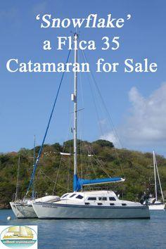 'Snowflake', a Richard Woods Flica Sailing Catamaran For Sale Catamaran For Sale, Sailing Catamaran, Used Sailboats For Sale, Sailboat Cruises, Boat Building, West Indies, Atlantic Ocean, Storms, Grenada