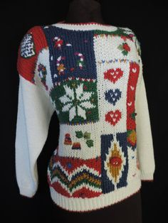 Christmas mess by cricketcapers Hand Knitted Sweaters, Ugly Christmas Sweater, Candy Cane, Being Ugly, Hand Knitting, Cute, Handmade, Stuff To Buy, Vintage