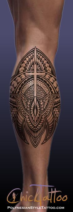 Polynesian Style Tattoo Cross Calf Design available for sale.