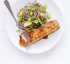 Soy & ginger salmon with soba noodles, looks great for lazy days.