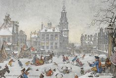 Snow Fun on Ice, Amsterdam, XVIII [18] Century by Anton Franciscus Pieck (19 April 1895 – 24 November 1987) was a Dutch painter, artist and graphic artist. His works are noted for their nostalgic or fairy tale-like character and are widely popular, appearing regularly on cards and calendars.