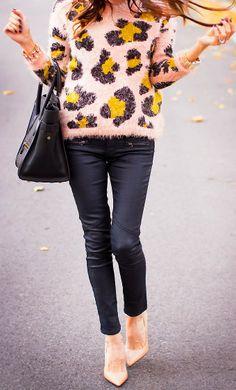 Fuzzy Leopard, jumper, sweater, Autumn winter, fall fashion, leather leggings