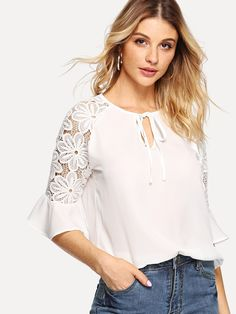 Flounce Sleeve Blouse Women Tops and Blouses Summer Elegant Raglan Sleeve Ladies Tops Plain Tops, Mode Chic, Tie Blouse, Raglan, Summer Shirts, Lace Sleeves, Types Of Sleeves, Blouses For Women, Clothes