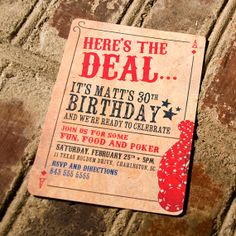 Here's the Deal Poker Card Birthday Invitation by YesMaamCreative, $17.00